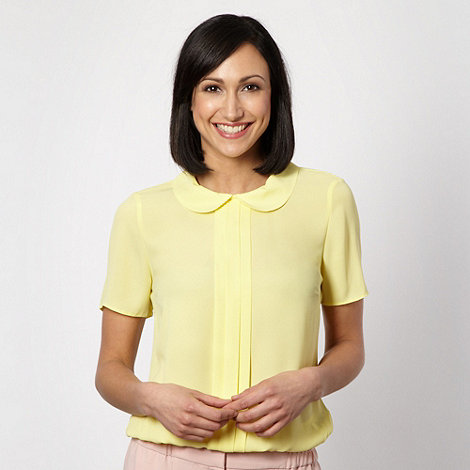The Collection - Pale yellow pleat front crepe top