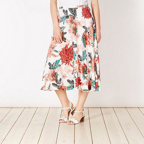 The Collection - Coral fern printed midi skirt