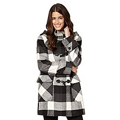 The Collection Petite - Petite black checked duffle coat
