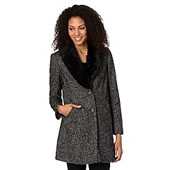 The Collection - Black faux fur collar tweed coat