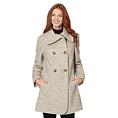 The Collection - Natural split neck boucle coat