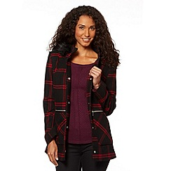 The Collection - Red checked faux fur trim coat