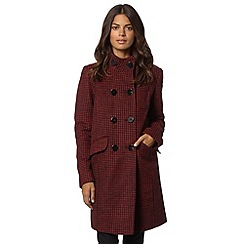 The Collection Petite - Petite red mini squares double breasted coat