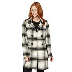 The Collection Petite - Petite cream checked double breasted coat