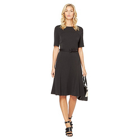 The Collection - Black belted flared work dress