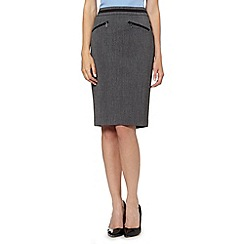The Collection Petite - Petite grey textured trim suit skirt