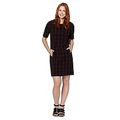 The Collection Petite - Petite black checked PU trim dress