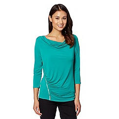 The Collection - Green cowl neck jersey zip top