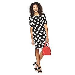 The Collection Petite - Petite black diamond print crepe tunic dress