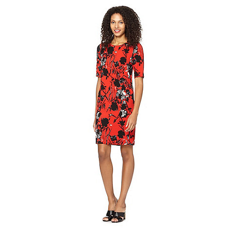 The Collection - Red floral crepe tunic dress