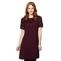 The Collection Petite - Petite wine checkerboard tunic