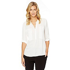 The Collection - Ivory mock pocket shirt