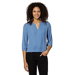 The Collection Petite - Petite pale blue pleated front top