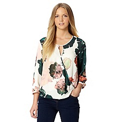 The Collection - Light green floral keyhole top