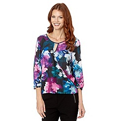 The Collection Petite - Petite black floral keyhole collar top