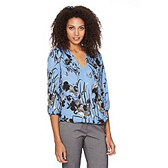 The Collection - Pale blue oriental floral wrap top