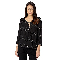 The Collection - Black sequin keyhole wrap top