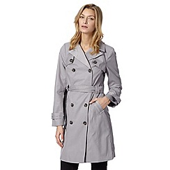 The Collection Petite - Petite light grey double breasted mid mac coat