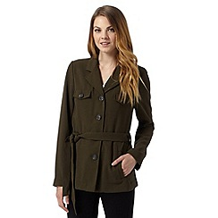 The Collection - Khaki crepe wrap jacket