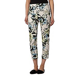 The Collection - Natural tiger lily slim cropped trousers