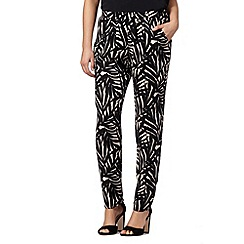 The Collection - Black palm leaf print soft trousers