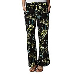 The Collection - Black tiger lily print wide leg trousers