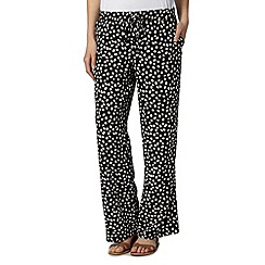 The Collection - Black pebble spot wide leg trousers