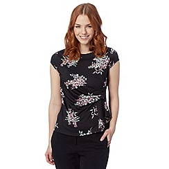The Collection Petite - Petite black cherry blossom jersey top