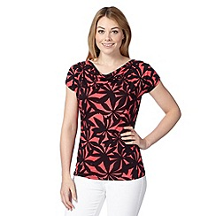 The Collection Petite - Petite dark pink shadow palm print top