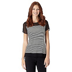 The Collection - Black striped sheer yoke top