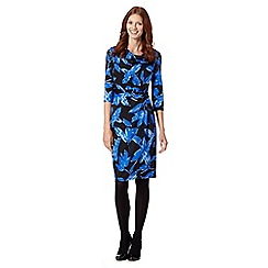 The Collection Petite - Petite royal blue sketchy floral jersey dress
