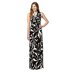 The Collection - Black mono floral print maxi dress