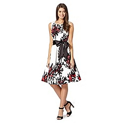The Collection - White floral flared dress