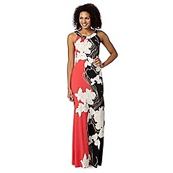 The Collection Petite - Petite black two tone floral jersey maxi dress