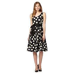 Black spotted print prom dress