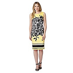 The Collection - Pale yellow rose print dress