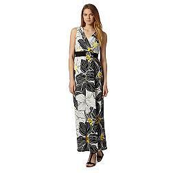 Black floral self tie waist maxi dress