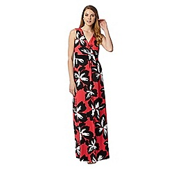 The Collection - Coral floral V neckline maxi dress