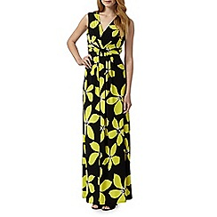 The Collection - Black floral V neckline maxi dress
