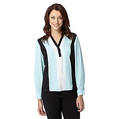 The Collection - Pale blue colour block V neck top