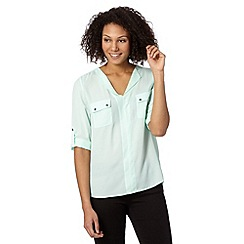 The Collection - Pale green two pocket crepe top