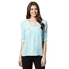 The Collection - Pale blue two pocket crepe top