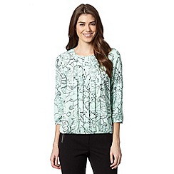 The Collection Petite - Petite pale green floral pleated bubble hem top
