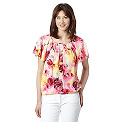 The Collection Petite - Petite pale yellow garden party floral top
