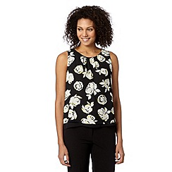 The Collection Petite - Petite black rose print layered vest