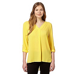 The Collection - Yellow three quarter length V neck top