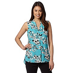 The Collection Petite - Petite bright turquoise soft floral V neck top