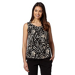 The Collection - Black palm leaf print double layered top