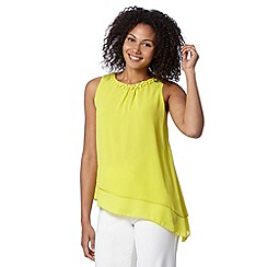 The Collection - Lime beaded neck asymmetric top