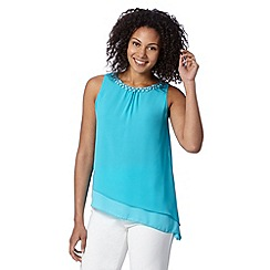 The Collection - Turquoise beaded neck asymmetric top